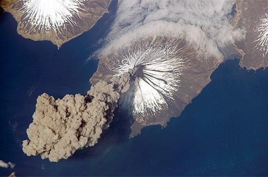 An erupting volcano in Alaska. (Photo courtesy of NASA)