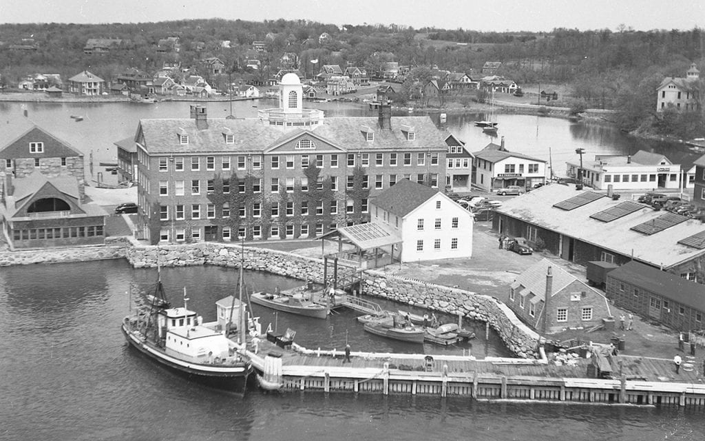 The Iselin Marine Facility, shown here in 1960, was constructed in its current configuration in 1969 to accommodate an expanding fleet. © Woods Hole Oceanographic Institution