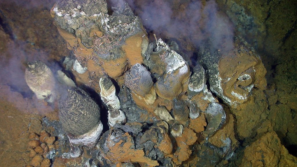 "Hot, buoyant, mineral-laden fluids rise from deep within ocean crust and mix with cold seawater. That triggers the precipitation of minerals that form deposits near and on the seafloor. Precipitating minerals also form seafloor ""chimneys,"" and mineral particles in the fluids venting at the seafloor make the fluids look like smoke. These chimneys are at a vent site that scientists called ""Roman Ruins,"" in the eastern Manus Basin in the Bismarck Sea south of the island of New Ireland in Papua New Guinea. (Photo courtesy of Maurice Tivey and WHOI Deep Submergence Lab, Cruise Manus 2006 with ROV Jason, Woods Hole Oceanographic Institution)"