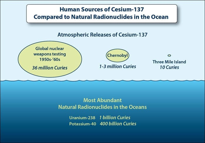 Human Sources of Cesium-137 Compared to Natural Radionuclides in the Ocean