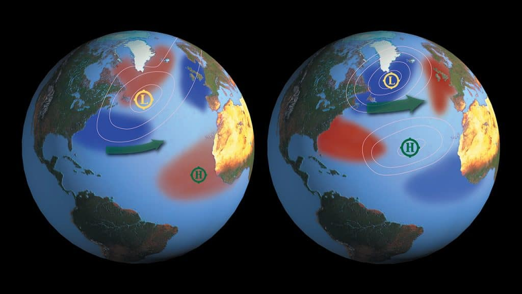 These global maps centered on the Pacific Ocean show patterns of sea surface temperature during El Niño (left) and La Niña (right) episodes. The colors along the equator show areas that are warmer or cooler than the long-term average.