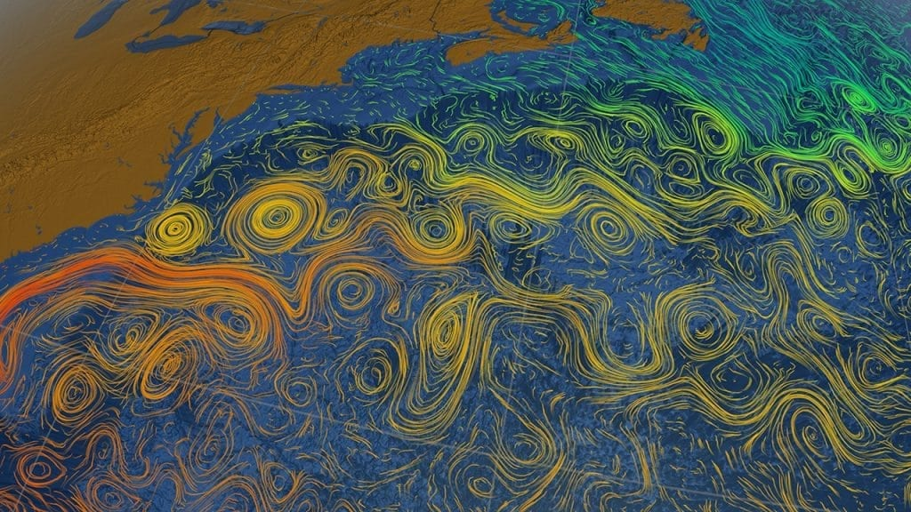 Tens of thousands of ocean currents are captured in this scientific visualization. (Image courtesy of NASA)