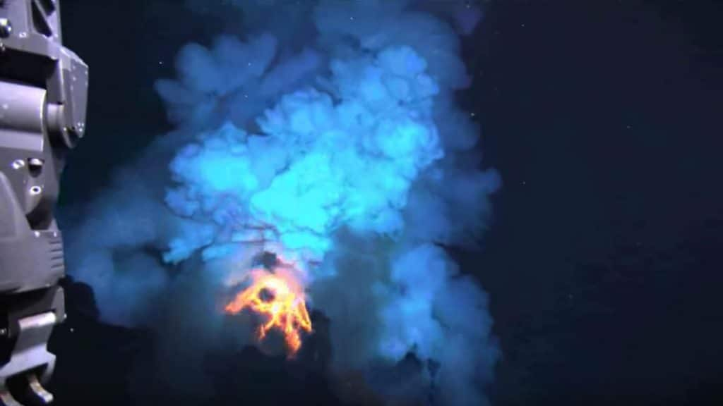 An underwater volcano eruption in West Mata, captured in 2009 by WHOI's autonomous underwater vehicle Jason in 2009.