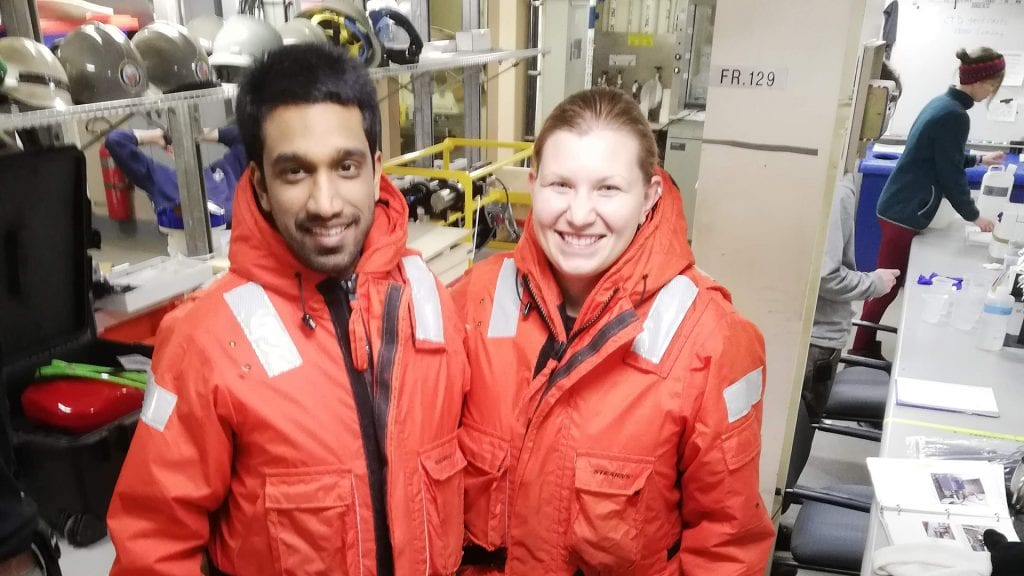 MIT-WHOI Joint Program Student Jessica Dabrowski with MIT EAPS graduate student Mukund Gupta, getting ready for on-deck sampling work in the Arctic.