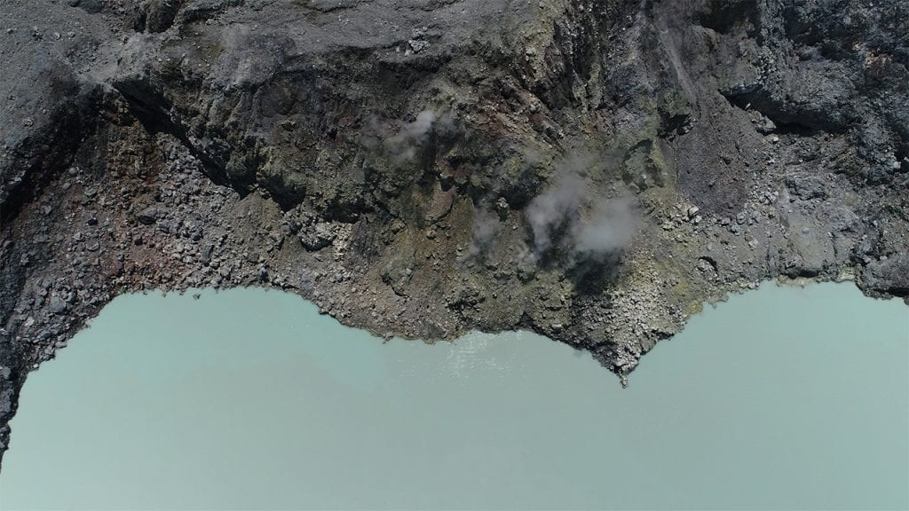Drone view above Poás volcano. Credit: Peter Barry.