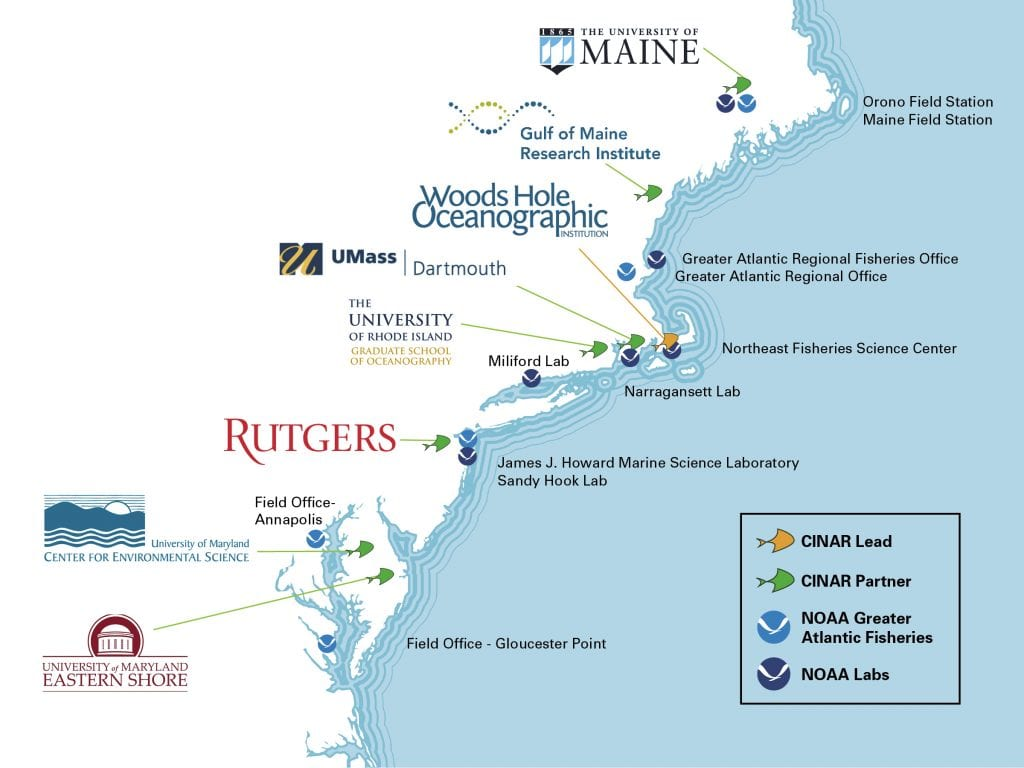 WHOI will host the Cooperative Institute for the North Atlantic Region working with the partner organizations (above).
