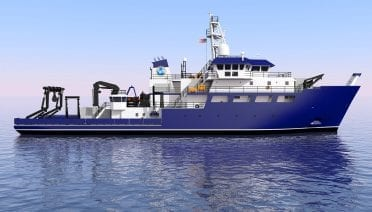 An artist's rendering of R/V <em>Resolution,</em> which will be homeported at the University of Rhode Island's Narragansett Bay Campus starting in 2021. (Glosten Associates)