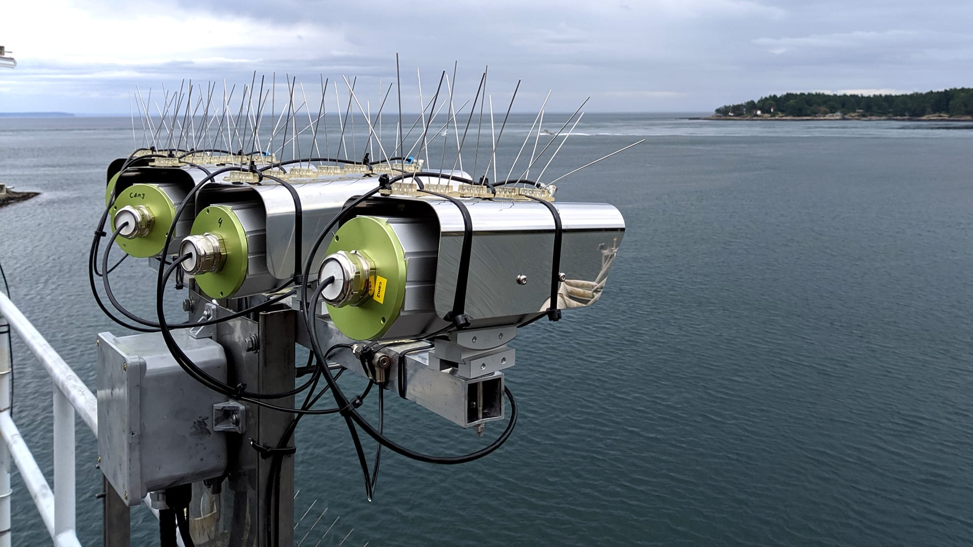 Vessel traffic in British Columbia's Gulf Islands has increased significantly in recent decades, making whales there more vulnerable to lethal vessel strikes along these narrow marine highways. Researchers are testing the effectiveness of thermal IR cameras (pictured) for automated whale detection, which could help prevent collisions. (Photo by Dan Zitterbart, Woods Hole Oceanographic Institution)