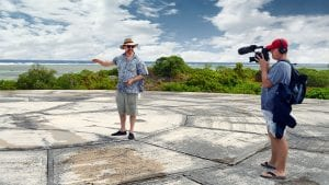WHOI geochemist Ken Buesseler discusses marine radioactivity monitoring in the Marshall Islands atop Runit Dome
