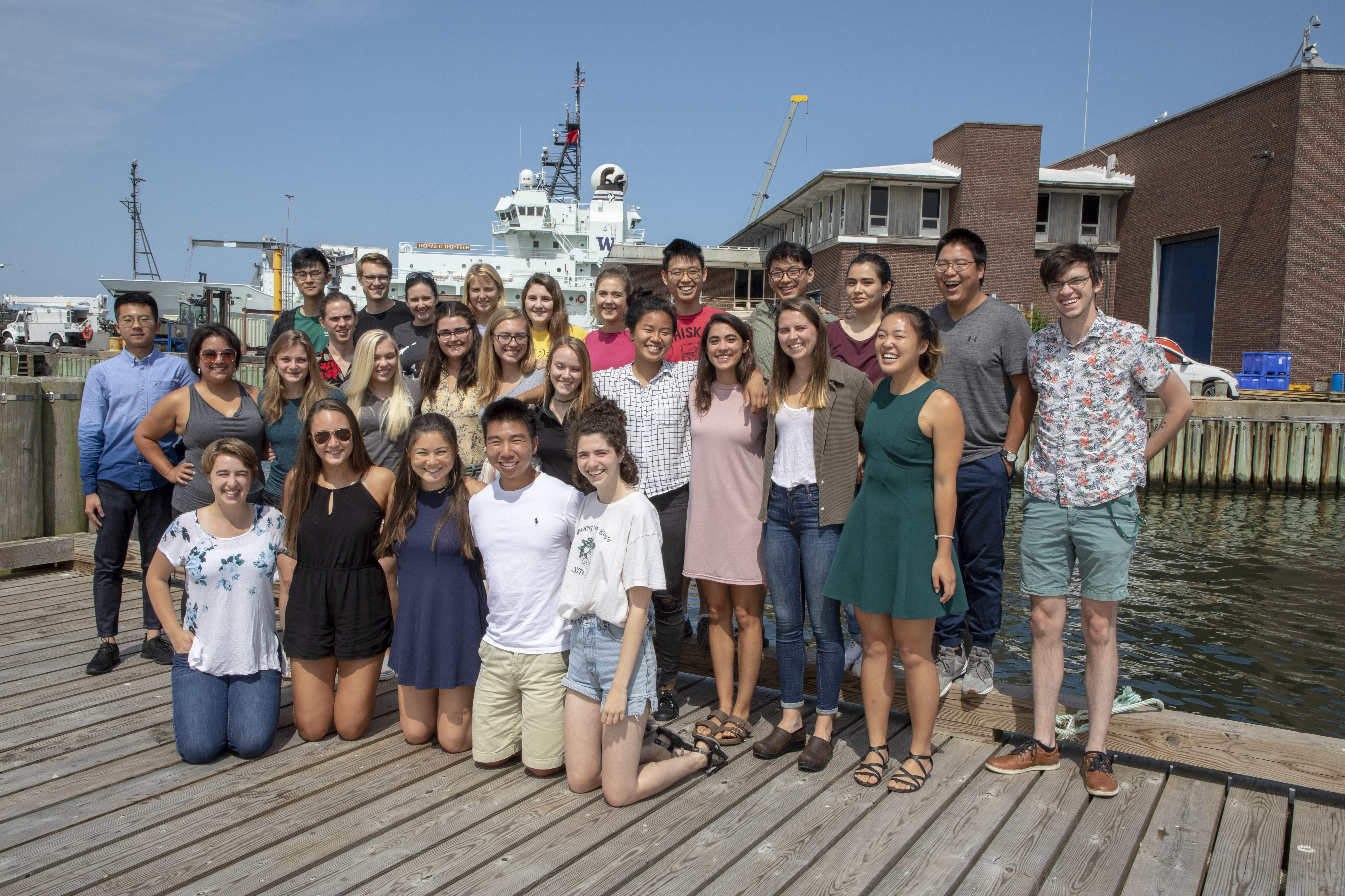 2019 Summer Student Fellows. WHOI Summer Fellowships are designed to give undergraduates hands-on experience in a broad spectrum of ocean science research. (Tom Kleindinst, Woods Hole Oceanographic Institution)