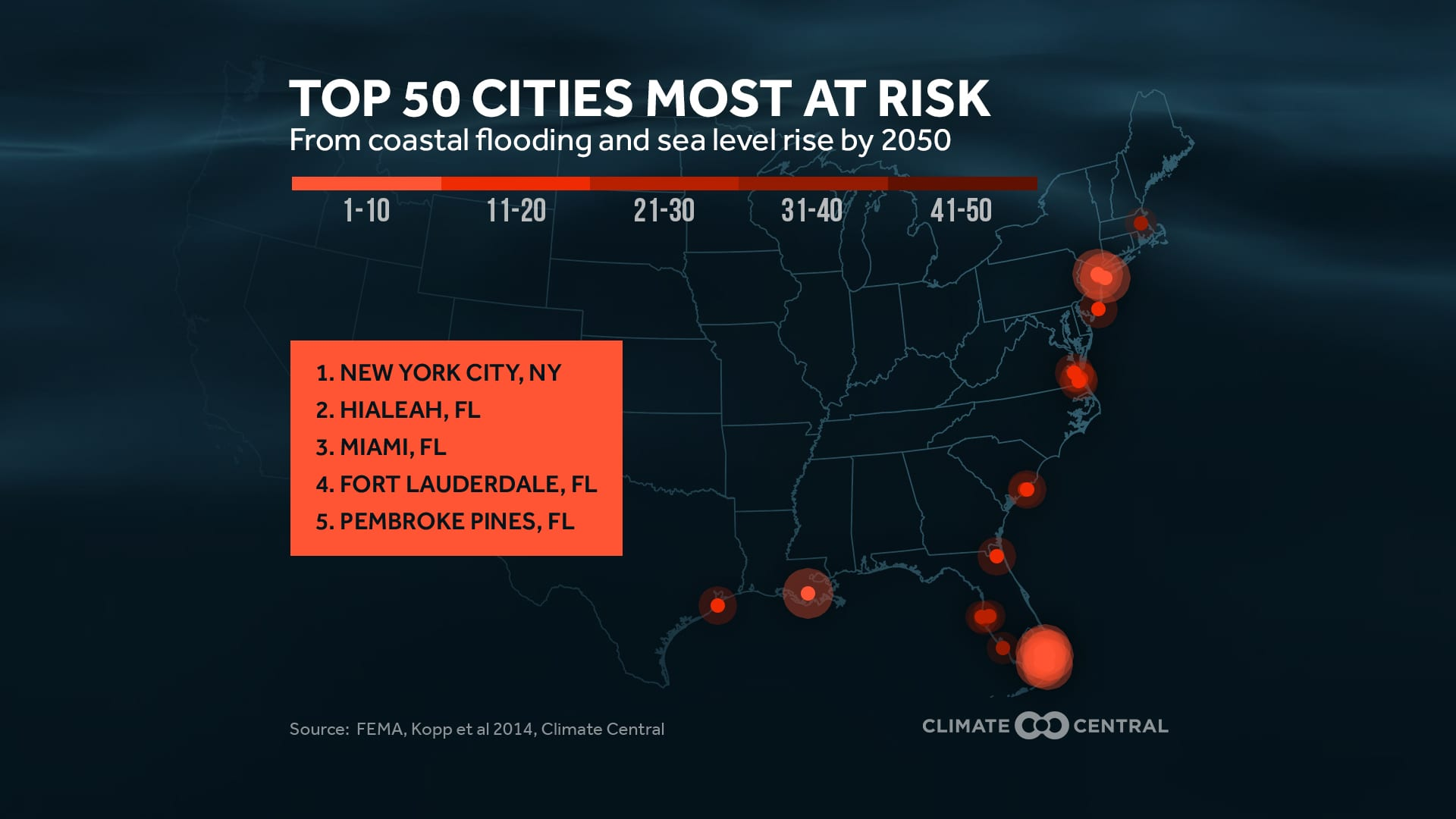 Climate Central sea level rise graphic