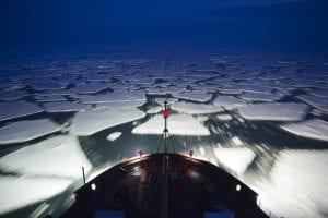 breaking ice bering sea