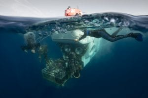 Chris teamed up with writer Lonny Lippsett to document the sea trials of the newly refurbished ALVIN submersible in 2014. Here the ALVIN team recovers the sub in the clear waters of the Gulf of Mexico. (Photo by Chris Linder, WHOI)