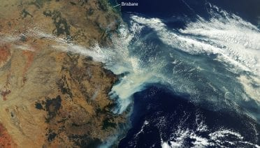 Australia satellite image of bushfire