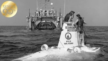 Alvin operations in Florida showing R/V Lulu in background. (Photo courtesy of WHOI Archives © Woods Hole Oceanographic Institution)