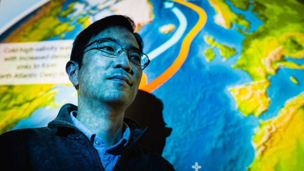 WHOI physical oceanographer Young-Oh Kwon relies on a combination of ocean data and climate models to understand the circulatory strength of the Atlantic Ocean's conveyor belt.  (Photo by Daniel Hentz, © Woods Hole Oceanographic Institution)