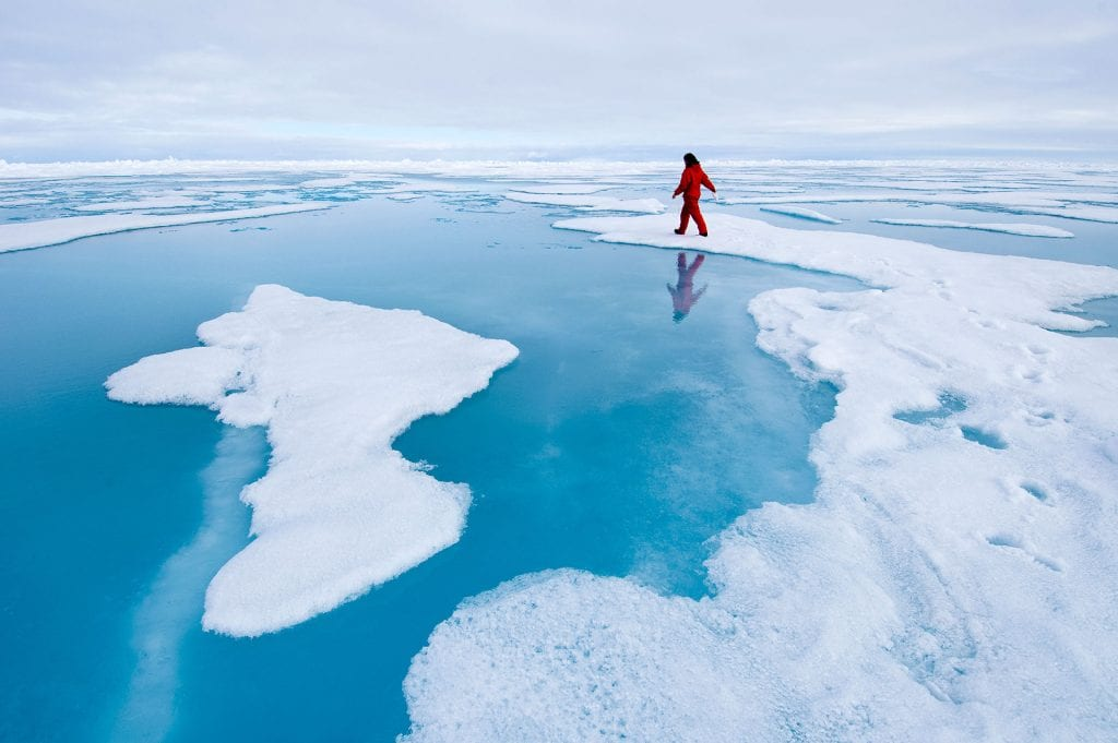 Walking on polar ice