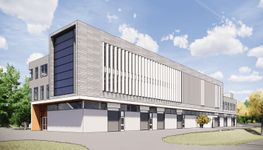 An illustration of the new building, which will be adjacent to the LOSOS building, outside of the existing road. (Courtesy of DSK)