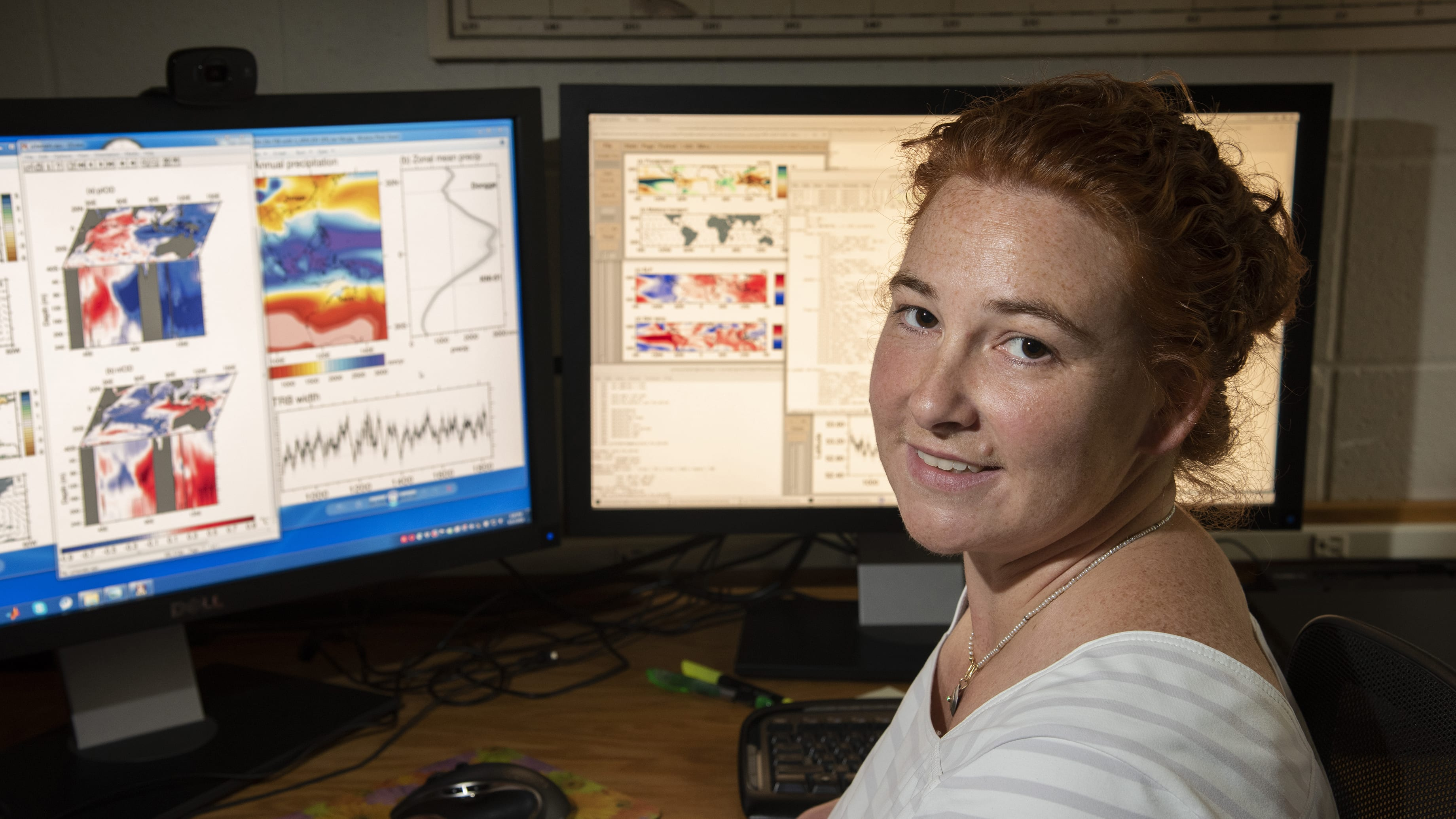 WHOI physical oceanographer Caroline Ummenhofer combines temperature and current measurements from the Indian Ocean with climate records and computer simulations to understand how ocean patterns influence rainfall and extreme weather events on adjacent landmasses. (Photo by Tom Kleindinst, © Woods Hole Oceanographic Institution)