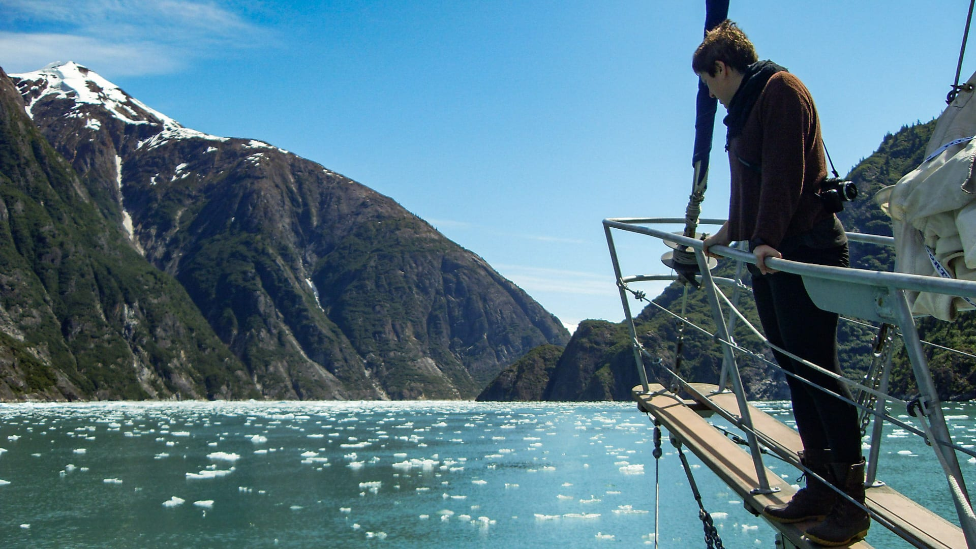 Aria Finkelstein's experiences at sea, here gliding amid a fjords of Southern Alaska on her family ketch, informed her desire to craft marine policy. (Photo courtesy of Aria Finkelstein)