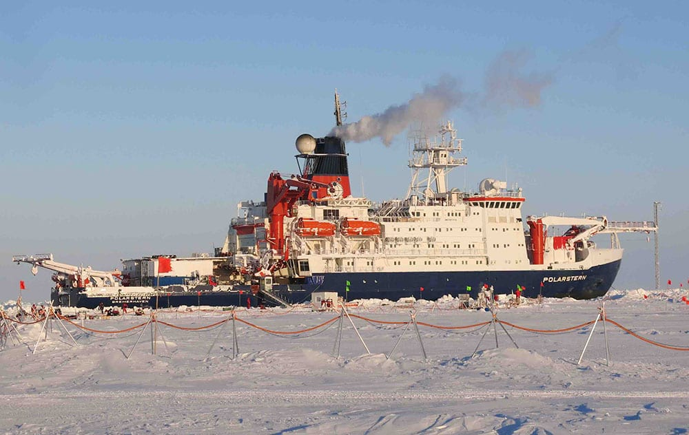 If things go according to plan, the German icebreaker Polarstern will remain locked in the Arctic sea ice until September 2020 as part of the Multidisciplinary Drifting Observatory for the Study of Arctic Climate (MOSAic) program. (Photo by Carin Ashjian, ©Woods Hole Oceanographic Institution)