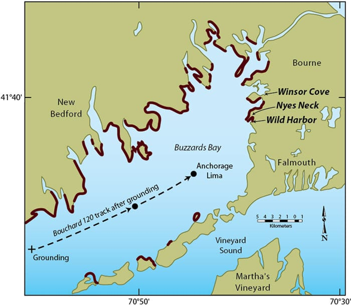 Red shading shows where oil from the Bouchard 120 spill washed up on the shoreline of Buzzards Bay. Researchers from WHOI have used the marshes and beaches at Wild Harbor, Nyes Neck, and Winsor Cove to conduct intensive studies of the short- and long-term impact of oil on the coastal environment. (Illustration by Jack Cook, Woods Hole Oceanographic Institution)