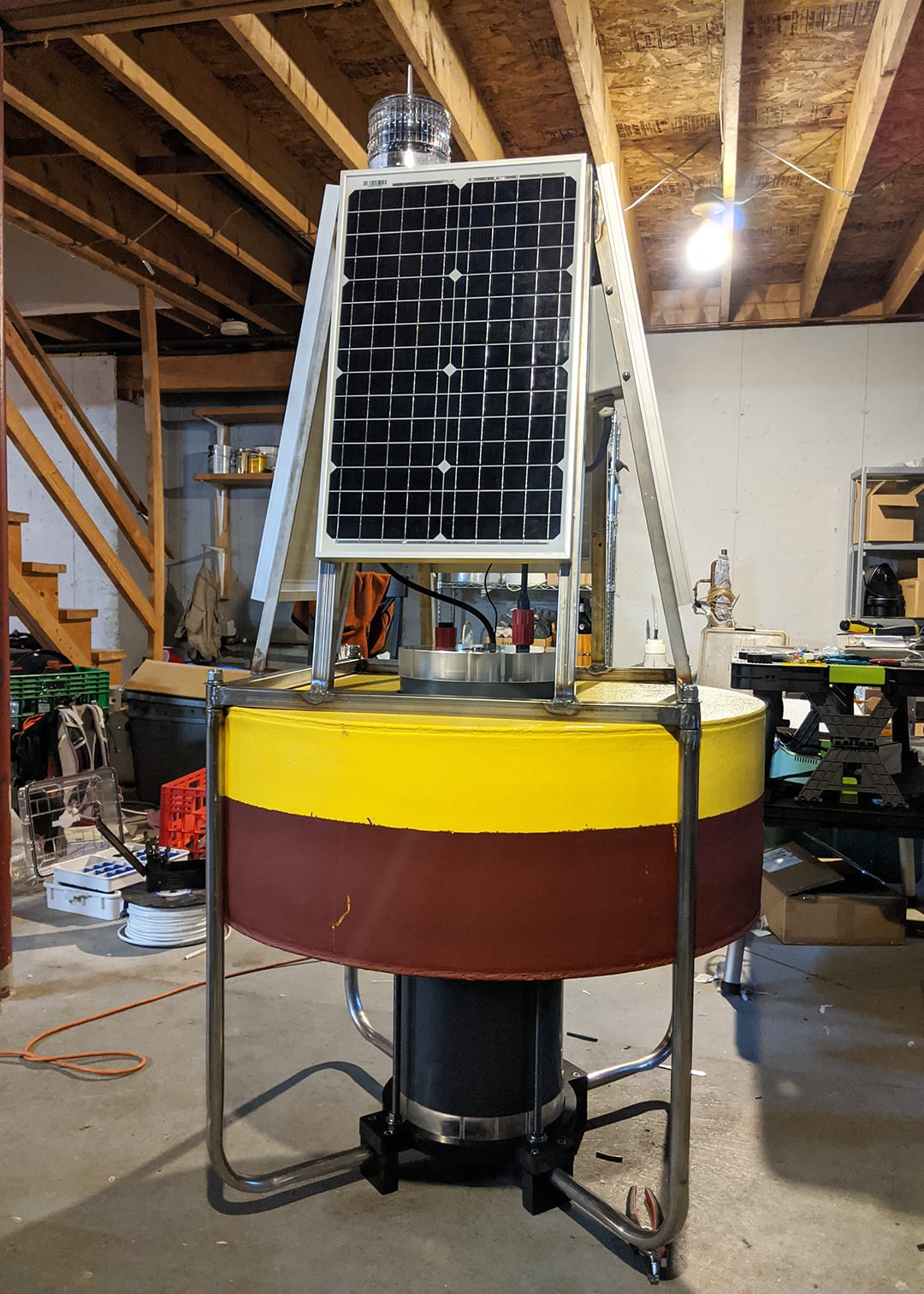 The solar-powered buoy, now assembled with a metal frame, will help to track the flow of carbon elements in the ocean, a necessary insight to study climate's effect on the ocean. (Photo by Matt Long, © Woods Hole Oceanographic Institution)