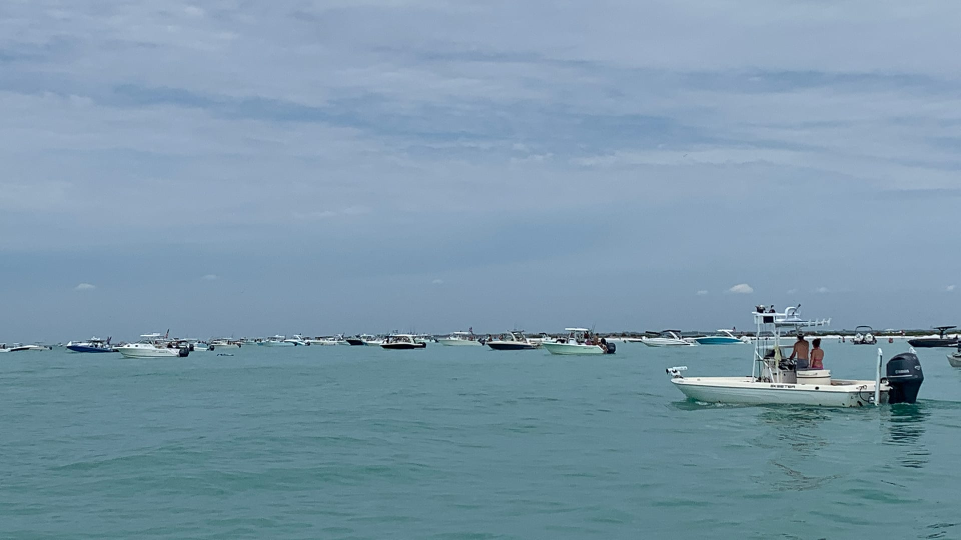 Recreational boats gather by Passage Key at the mouth of Sarasota Bay in Florida, a now common scene on weekends during the pandemic. (Photo courtesy of Randall Wells)
