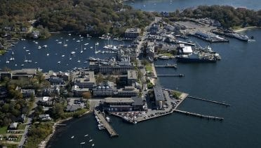 An aerial view of Woods Hole, Massachusetts (© Woods Hole Oceanographic Institution)