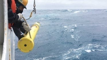 A SOCCOM (Southern Ocean Carbon and Climate Observations and Modeling) float like those that will be a part of the GO-BGC array being deployed from the Japanese research vessel Mirai in the Southern Ocean in 2019. (Image courtesy of SOCCOM. SOCCOM is supported by the National Science Foundation under NSF Award PLR-1425989 and OPP-1936222)