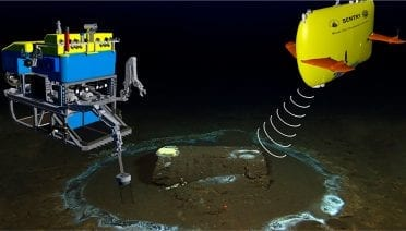 Sentry (upper right) and Jason worked together to study the dump site near Catalina Island, with the autonomous vehicle Sentry first mapping the seafloor to allow scientists and engineers to guide the remotely operated Jason to locations of interest for closer examination and to collect samples. Researchers noted sulfur microbes growing on top of and microbial rings on the seafloor surrounding many of the barrels. (Composite image from Kivenson et al., 2019, © Woods Hole Oceanographic Institution)