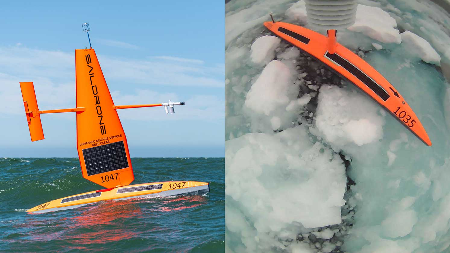 Saildrone unmanned surface vehicles (USVs) will operate in ice-covered parts of the North Atlantic and Arctic Oceans to gather critical information about air-sea interaction in these difficult-to-navigate parts of the ocean in order to improve the accuracy of ice and weather forecasts in the region. Photo courtesy of Saildrone.