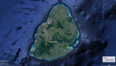 Location of the wreck of the ship Wakashio, which went aground on a reef off the coast of Mauritius on July 25, 2020, and began leaking fuel oil on August 6, as well as the location of an oil sample collected on August 16 analyzed by teams at Curtin University in Perth, Australia, and the Woods Hole Oceanographic Institution. (Google Earth map produced by Woods Hole Oceanographic Institution)