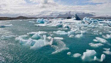 Melting ice on the Iceland and Greenland ice caps are major sources of fresh water into the North Atlantic, which contributes to sea level rise and potentially disrupts global ocean circulation. (Photo by Laura Stevens, © Woods Hole Oceanographic Institution)