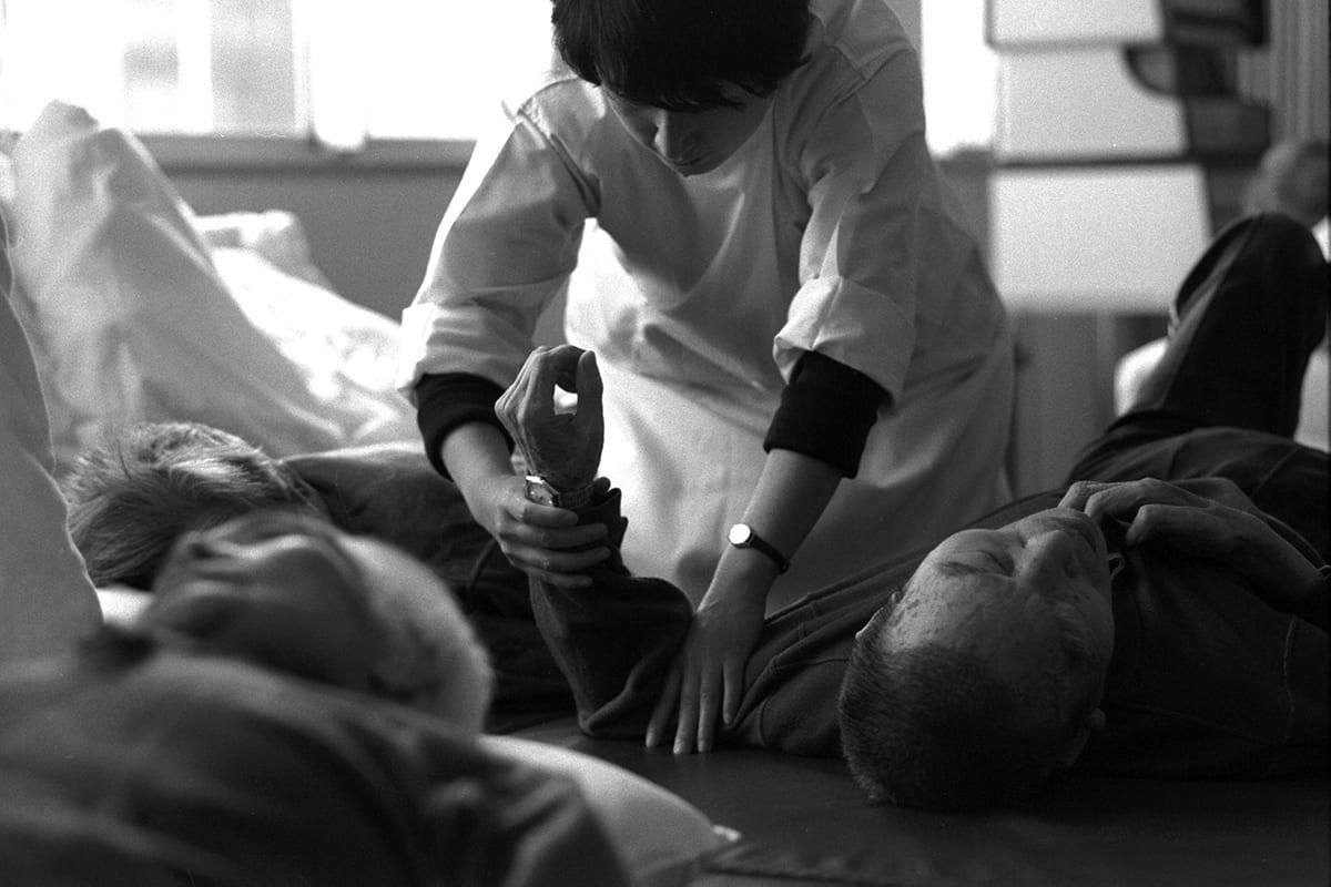 Minamata disease patients at a rehabilitation center in 2016 in Minamata, Kumamoto, Japan. (Photo by The Asahi Shimbun © Getty Images)