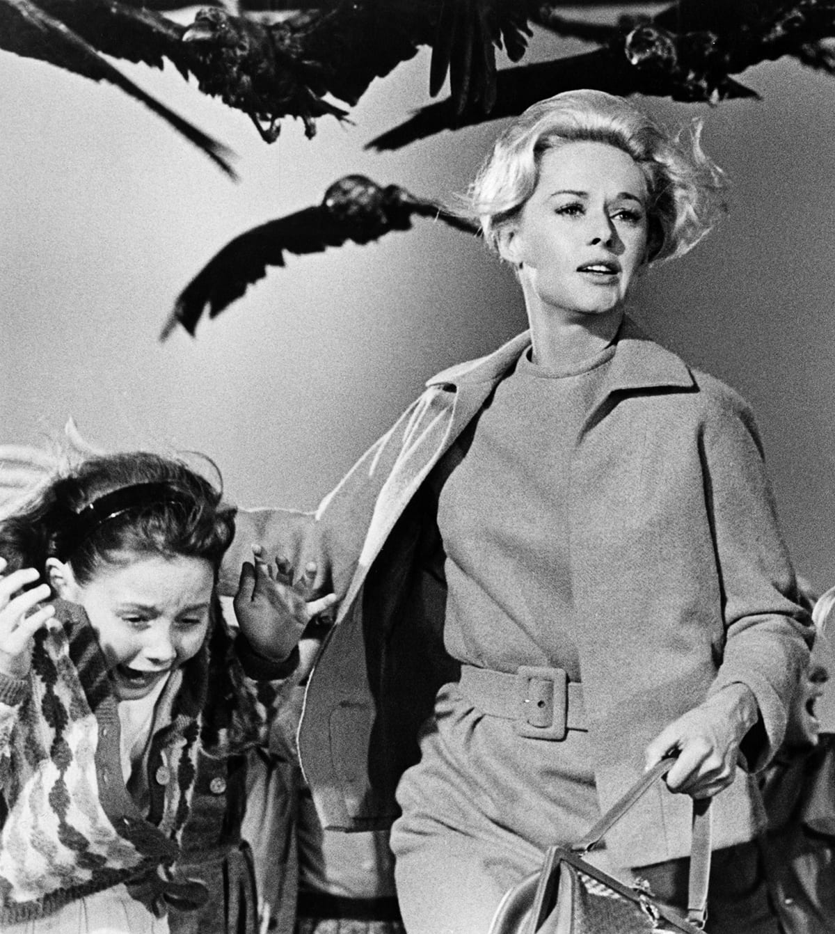 A scene from the 1963 Hollywood horror classic, The Birds. The movie drew inspiration from a real-life situation in Monterey Bay, California where seabirds became disoriented and began slamming into homes after ingesting toxic algae. (Photo Courtesy of Universal Studios Licensing LLC)