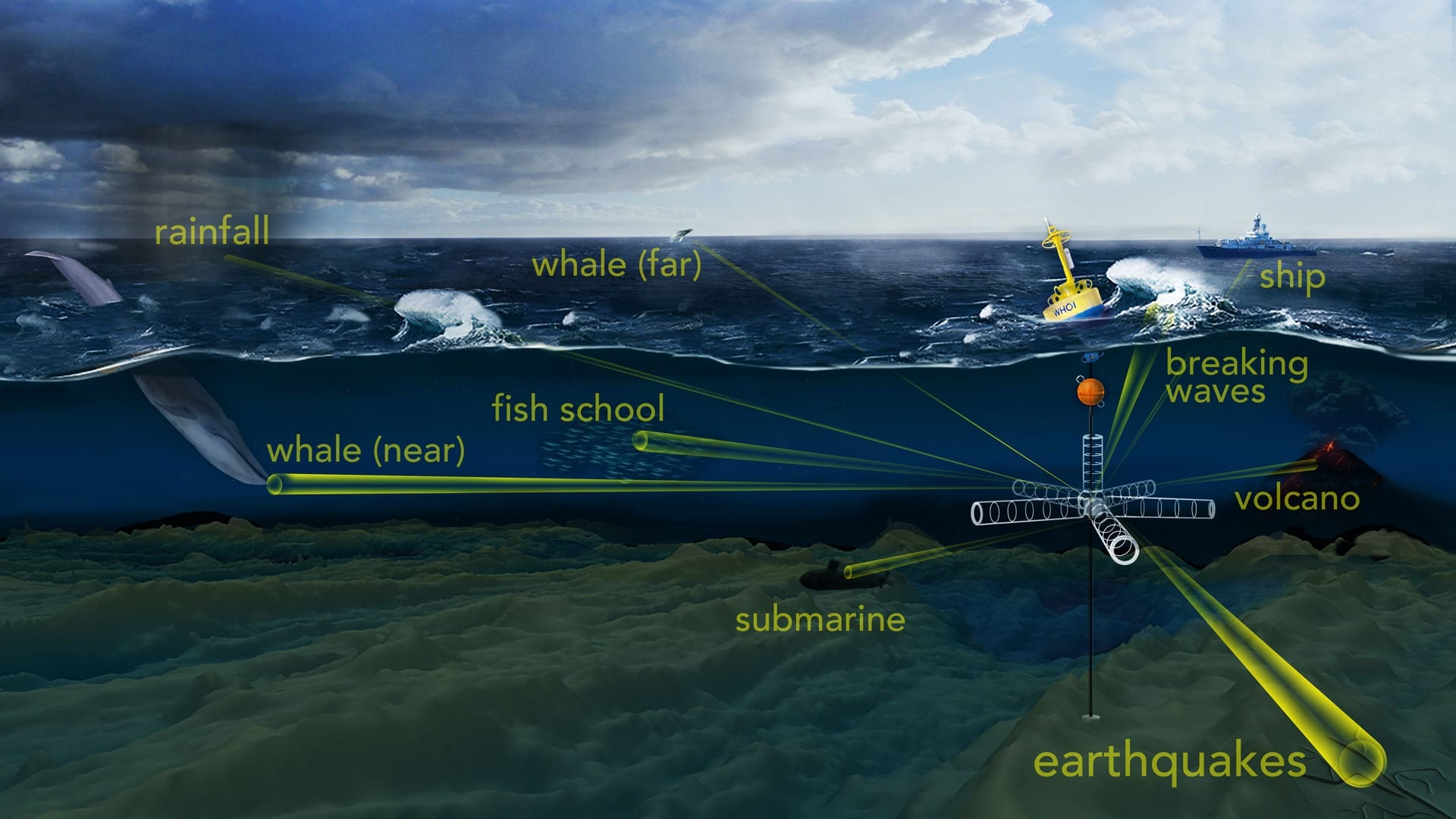 "To probe the ocean's opaque interior, sound is one of the most efficient tools available. WHOI scientists have developed an ""acoustic telescope"" to ""see"" into a noisy ocean and pick out unique sounds produced by distant acoustic phenomena, such as whale calls and fish schooling, as well as the rumble of earthquakes, volcanoes, and storms. (Illustration by Natalie Renier, WHOI Creative)"