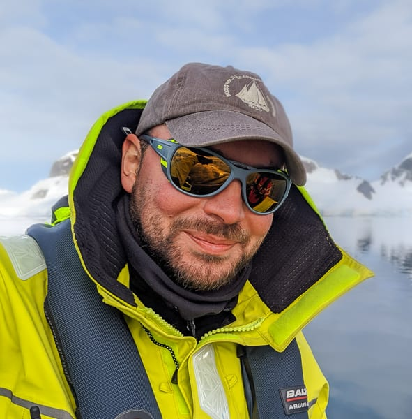 WHOI assistant scientist Daniel Zitterbart during a research trip to the Antarctic Peninsula.