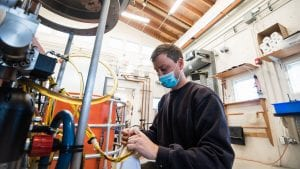 Francis Elder testing new variable ballast pump for Alvin