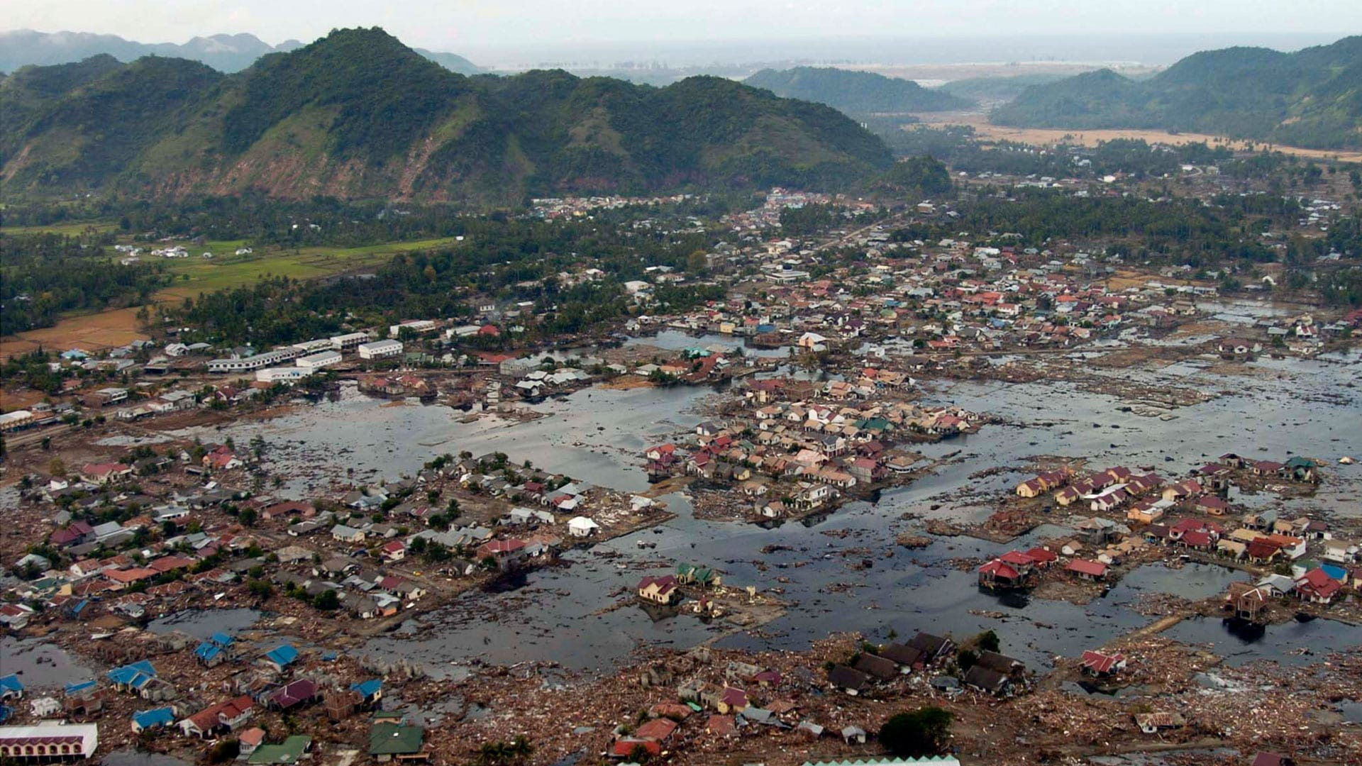 A village near the coast of Sumatra lays in ruin after the 2004 earthquake and tsunami that struck South East Asia. (U.S. Navy photo by Photographer's Mate 2nd Class Philip A. McDaniel (RELEASED)