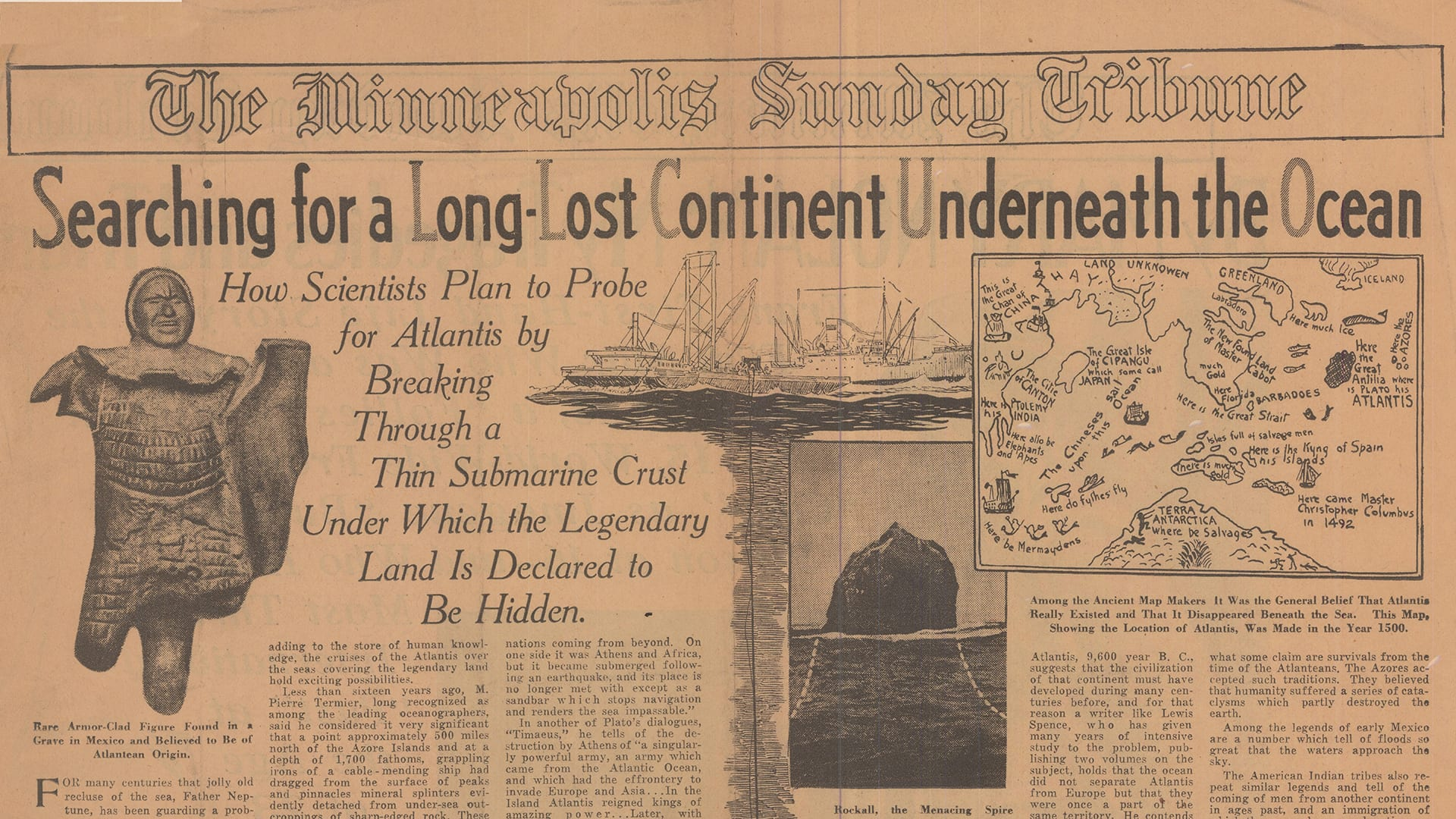 Catching wind of Bigelow and Iselin's research cruise, the <em>Minneapolis Sunday Tribune</em> ran a page-one story in October, 1931, excitedly noting the scientists' mission to look for the lost city while surveying large currents in the North Atlantic. (Courtesy of WHOI Archives, © Woods Hole Oceanographic Institution)