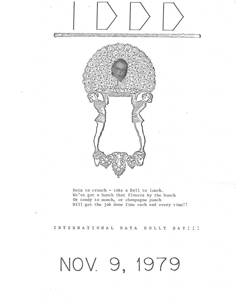 A poster announcing International Data Dolly Day in 1979.
