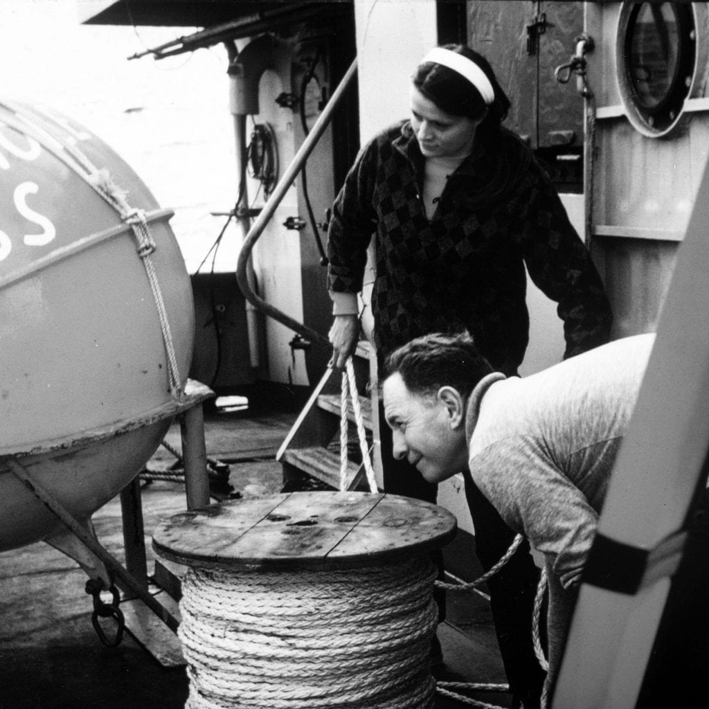 Susan Tarbell, pictured here with Jim Gifford in the early 1970s, was one of the first women in the WHOI Buoy Group to regularly go to sea. (Courtesy of the WHOI archive)