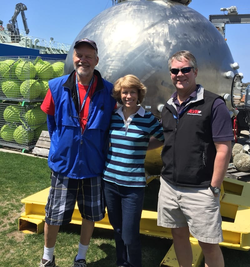 7th grade life science teacher and Dive & Discover veteran Carolyn Sheild (center) poses with Hovey Clifford (left) and Rick Chandler during a field trip to WHOI. (Photo courtesy of Carloyn Sheild)