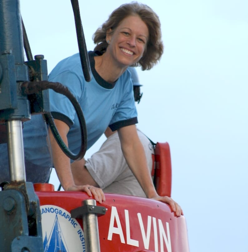 Carolyn Sheild, a 7th grade life sciences teacher in Lexington, Mass., enters the human-occupied submersible <em>Alvin</em> before a dive to the East Pacific Rise in 2007. (Photo courtesy Carolyn Sheild)