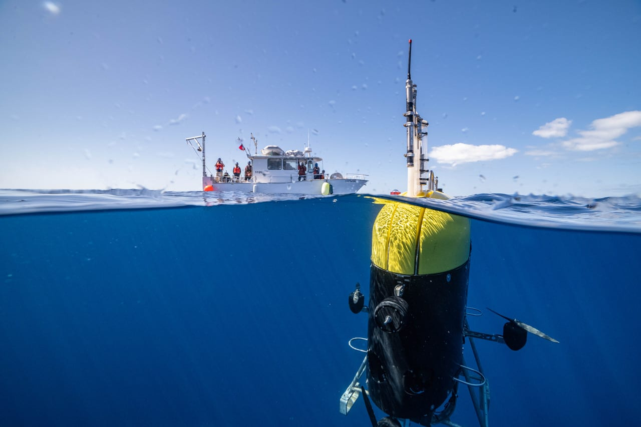 Mesobot, an underwater robot capable of tracking and recording high-resolution images of slow-moving and fragile zooplankton, gelatinous animals, and particles, is providing researchers with deeper insight into the vast mid-ocean region known as the twilight zone.   Photo taken off the coast of Bermuda, March 2021 Evan Kovacs/©Woods Hole Oceanographic Institution
