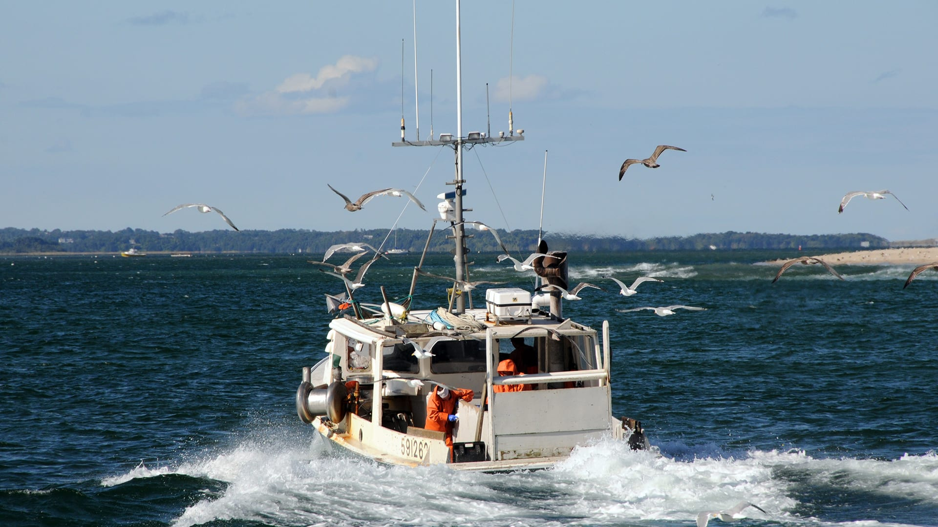 """Fishing boat """"Decisive"""" heads into Chatham Harbor. (Photo by Jayne, © Woods Hole Oceanographic Institution)"""