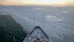 U.S. Coast Guard Cutter Polar Star enters the winter pack ice