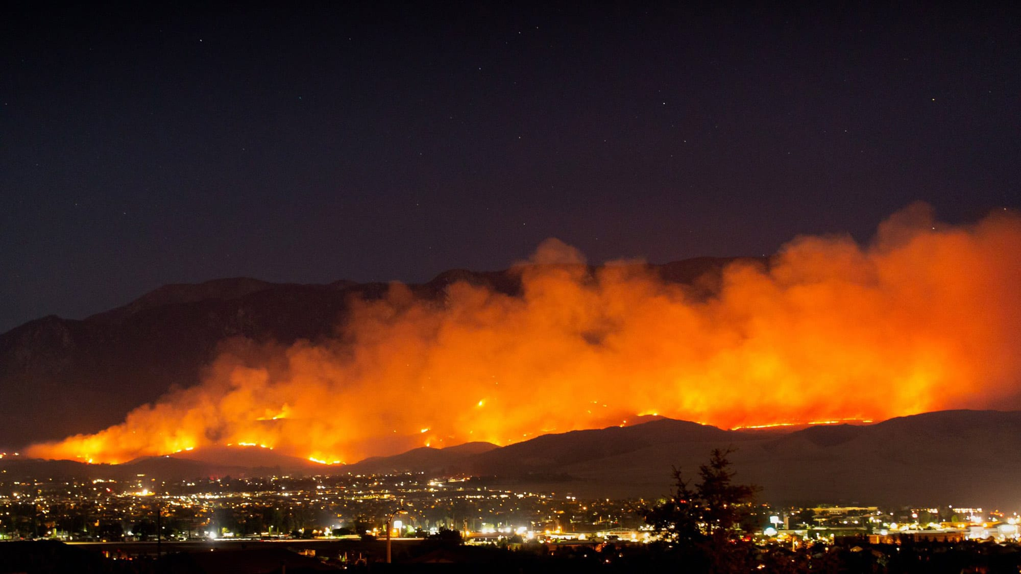 The Apple Fire burns into the night north of Beaumont on Friday, July 31, 2020. Taken by Brody Hessin WIKIMEDIA COMMONS