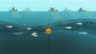 A bioacoustic mooring sits in the middle of the ocean twilight zone (not to scale), while prospective commercial fishing vessels work on the surface. (Illustration by John Hentz, © Woods Hole Oceanographic Institution)